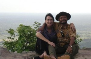 Bernadette O'Neill and husband in Cambodia
